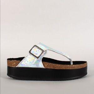 New Wild Diva Reina Silver Platform Sandals 7.5